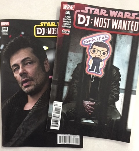 Star Wars - DJ: Most Wanted #1 - Norrin's PickWhen STAR WARS: THE LAST JEDI takes theaters in FORCE (get it?) this December, Star Wars fans will get a peek into some new dark corners of the Galaxy Far Away...and out of one of those corners scuttles DJ, the mysterious character played by Benecio Del Toro! Who is this mystery man, and what put him in the path of our Resistance heroes? Join Ben Acker & Ben Blacker (Star Wars Join the Resistance, Star Wars: The Last Jedi - The Storms of Crait) and Kev Walker (Star Wars: Doctor Aphra) as they reveal a day in DJ's life just before his appearance in the film!