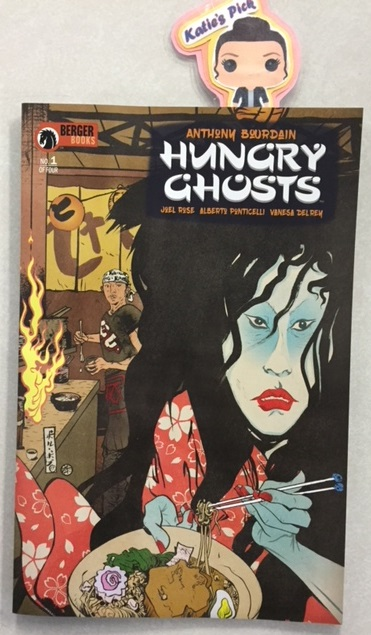 Hungry Ghosts #1 - Katie's PickOn a dark, haunted night, a Russian oligarch dares a circle of international chefs to play the samurai game of 100 Candles-where each storyteller spins a terrifying tale of ghosts, demons and unspeakable beings-and prays to survive the challenge. Inspired by the Japanese Edo period game of Hyakumonogatari Kaidankai, Hungry Ghosts reimagines the classic stories of yokai, yorei, and obake, all tainted with the common thread of food. First course: With bad consequence, a ramen chef refuses to help a beggar, and a band of pirates get more (and less) than they were bargaining for after their encounter with a drowning woman turns ghastly. Hungry Ghosts is cooked up by the infamous author and chef, Anthony Bourdain (Emmy-Award winning TV star of Parts Unknown) and acclaimed novelist Joel Rose (back again from their New York Times #1 best seller, Get Jiro!). Joining them this issue are stellar artists Alberto Ponticelli (Second Sight) and Vanesa Del Rey (Redlands), with amazing color by Jose Villarrubia, and a drop-dead cover by Paul Pope (Batman Year 100).