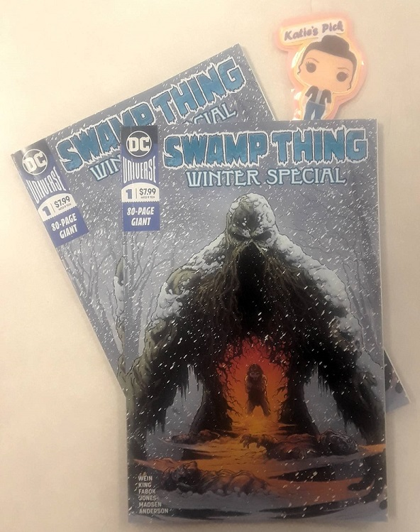 Swamp Thing: Winter Special #1 - Katie's PickTom King (Batman) and Jason Fabok (Justice League vs Suicide Squad) pay tribute to the legendary creators of Swamp Thing, writer Len Wein and artist Bernie Wrightson, as they join forces for an earth-shattering Swamp Thing passion project! In this new, squarebound one-shot, Swamp Thing is out of his element as he shepherds a lost boy through a blinding blizzard and other hazards of a strange, frozen tundra. In this touching and harrowing tale of survival, the pair must navigate countless threats throughout a bewildering terrain-with a bloodthirsty snow monster hot on their heels. But how long can they rely on each other? Separated from the Green and stripped of his powers in this dead world, Swamp Thing struggles to fight for their lives and deliver the boy to safety. Disoriented and decaying, Swamp Thing's fading understanding of his surroundings forces the duo to confront their desperation and uncover the true identity of the snow monster that hunts them. In addition, this special features the final Swamp Thing story from the monster's co-creator, Len Wein. Originally intended as the start of a new series, it is presented here both in its original script form and with art by Kelley Jones.