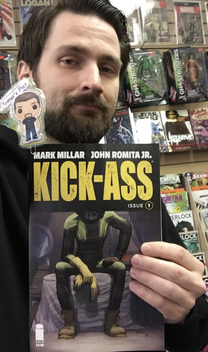 Kick-Ass #1 - James' PickKICK-ASS IS BACK-ready to wipe out the city's criminal low-lives, destroy its gangs, and save its communities from decay. But there's a new face beneath the old mask, a new figure wearing that famous green and yellow spandex. Who is this new vigilante superhero? Who can fill Dave Lizewski's shoes? WHO IS THE NEW KICK-ASS? Find out in the first issue of this new, ongoing monthly series. Comic book legends MARK MILLAR (Huck, Chrononauts) and JOHN ROMITA, JR. (All Star Batman, Silencer) reunite for the next chapter of the greatest superhero comic of all time.