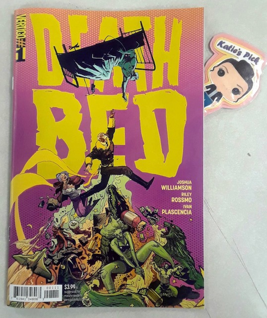 Deathbed #1 - Katie's PickWriter: Josuah WilliamsonArtist Riley RossmoColorist: Ivan PlascenciaMyth, hack, sex symbol, stark raving lunatic-all of these words have been used to describe Antonio Luna, the world's greatest living adventurer. Or at least he was until 20 years ago, when he mysteriously vanished from the public eye. Now the ninety-year-old has returned and claims to be on his deathbed. Which is where Valentine Richards, a failed novelist turned reporter, comes in. Val is hired to travel to Luna's remote castle home and uncover where the old star has been all these years, and just how much of what he says is actually true. But once Val starts to hear Luna's tale, she finds herself entering into an insane world of psychedelic violence and explosive supernatural adventure. This brand-new series is a bold collaboration between Joshua Williamson (The Flash Rebirth, Nailbiter) and Riley Rossmo (Cowboy Ninja Viking). Before it's through, they promise to take you to the Moon and back-and everywhere in between-plus some places that are totally off the map.