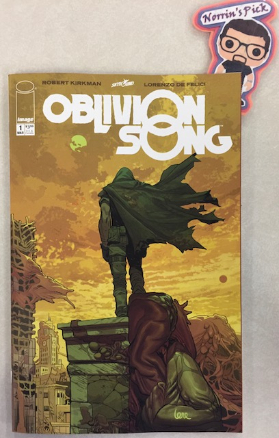 Oblivion Song #1 - Norrin's PickWriter: Robert KirkmanArtist: Lorenzo De FeliciColorist: Annalisa LeoniLetterer: Rus WootonA decade ago, 300,000 citizens of Philadelphia were suddenly lost in Oblivion. The government made every attempt to recover them, but after many years, they gave up. Nathan Cole...won't. He makes daily trips, risking his life to try and rescue those still living in the apocalyptic hellscape of Oblivion. But maybe...Nathan is looking for something else? Why can't he resist the siren call of the Oblivion Song?