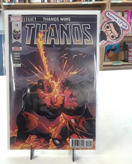 Thanos #18 - Norrin's PickWriter: Donny CatesArtist: Geoff ShawColorist: Antonio FabelaLetterer: Clayton CowlesAT LONG LAST...THANOS WINS! When there is nothing left to kill, Death comes...to the one who loves her most - KING THANOS. How will the fantastic saga of Thanos, King Thanos and the Cosmic Ghost Rider end?