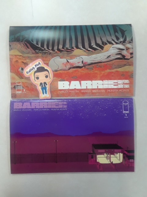 Barrier #1 AND #2 Collectors Editions - Katie's PickWriter: Brian K. VaughnArtist: Marcos MartinColorist: Muntsa VicenteFrom the Eisner Award-winning team behind The Private Eye, Barrier is an unconventional drama about violence, language, and illegal immigration...with a shocking sci-fi twist. After debuting on PanelSyndicate.com, this critically acclaimed five-part miniseries finally comes to print, exclusively from Image Comics. After making the massive, 50-plus-page first issue available to mature readers for FREE on Free Comic Day, this special collector's edition of the first issue is being released in a larger size to match the next four issues being released WEEKLY throughout the rest of May! Printed in its original