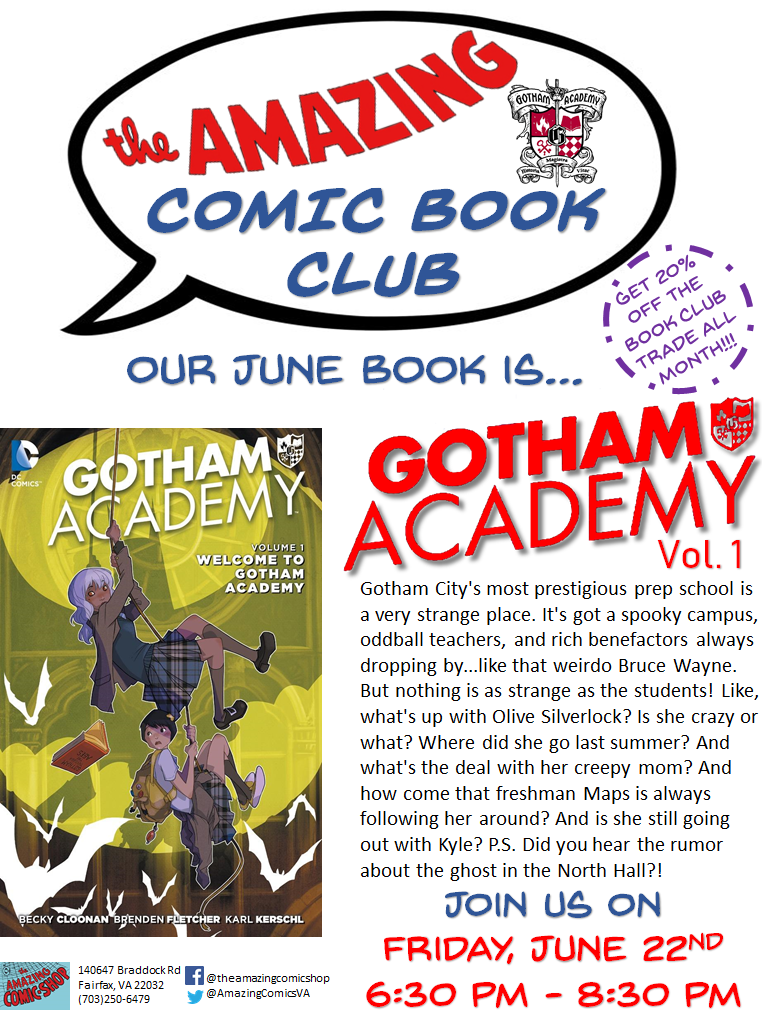 June is going to be so much fun. We get to talk a Bat book! Okay... Not a Batman book. But a Gotham book! We are talking... GOTHAM ACADEMY VOL 1! Mark your calendar for June 22nd! Let's talk YA Bat-Family and chat our predictions for 'Ant-Man and the Wasp'.