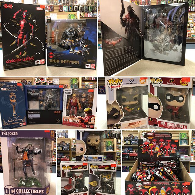 Let's enjoy today! The sun is out. The shelves are stocked! It's #NewComicBookDay! *~*~*~*~*~*~*~*~*~*~*~*~* #dccomics #batman #thejoker #deadpool #marvel #wondereoman #funkopop #antmanandthewasp #finalfantasy #playarts #samuraibatman #ncbd #metalgearsolid