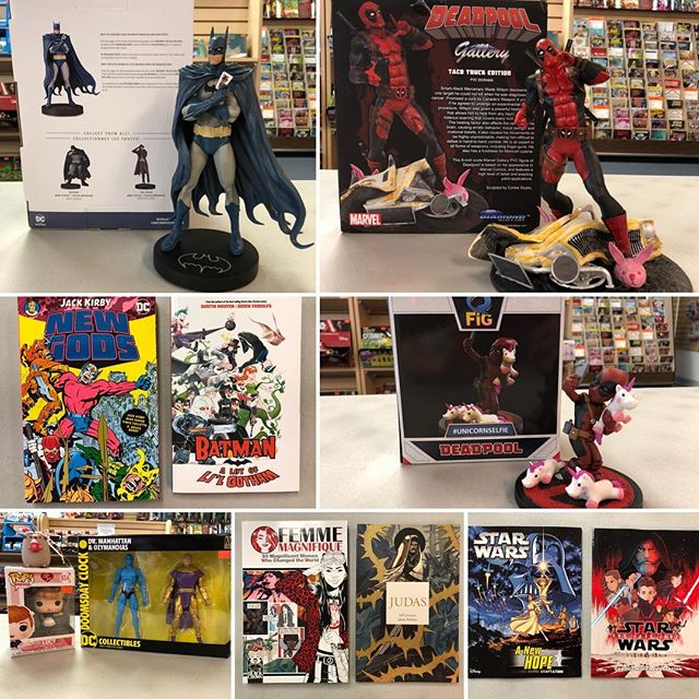It is way too hot outside. Come inside. Enjoy the AC! And... All the lovely #NewComicBookDay product!!! *~*~*~*~*~*~*~*~*~*~*~*~*~*~*~* #dccomics #marvel #deadpool #batman #newgods #jackkirby #kingkirby #judas #indiecomics #starwars #doomsdayclock #ilovelucy #funkopop #pusheen #femmemagnifique #ncbd