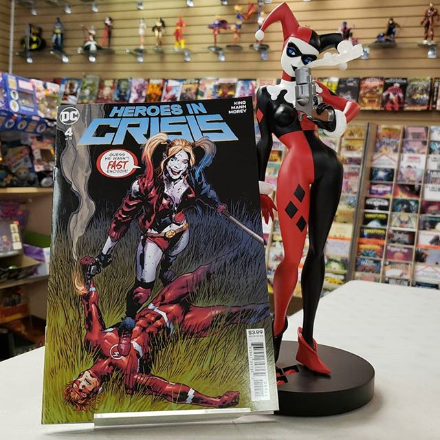 Just in case you didnt get enough reading in during the #holidays we got in all our #newbooks including the new issue of #heroesincrisis . Dont forget to check out all of our #harleyquinn #figs and #statues
