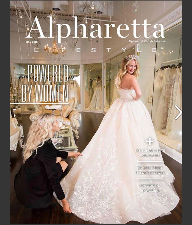 Loved❤️getting the cover📔of @alpharettalifestyle for @elitepourlavie 🎀with @gerber__babyy 👯‍♀️wearing @zuhairmuradmariage @zuhairmuradofficial 👰🏼there is no better place to get your wedding dress😍💋Drape by @gerisims @n2decor photo📸by Aubrey Canales