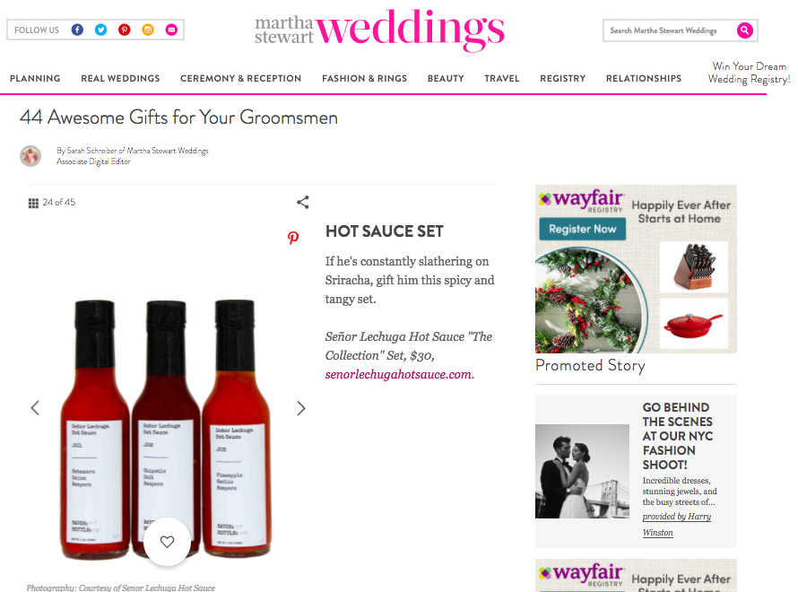 "Martha Stewart Weddings   44 Awesome Gifts for Your Groomsmen   ""If he's constantly slathering on Sriracha, gift him this spicy and tangy set."""