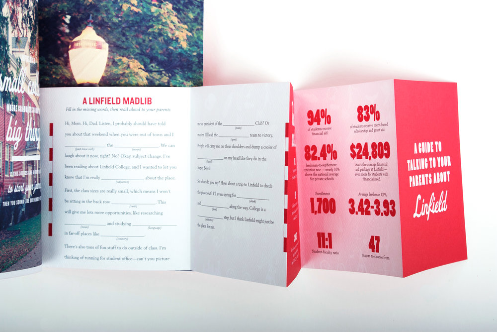 "The back features a pocket guide to 'Talking to your parents about Linfield.' Included are quick facts about the school, a Linfield MadLib and hand drawn images that evoke ""Oregon vibes"""