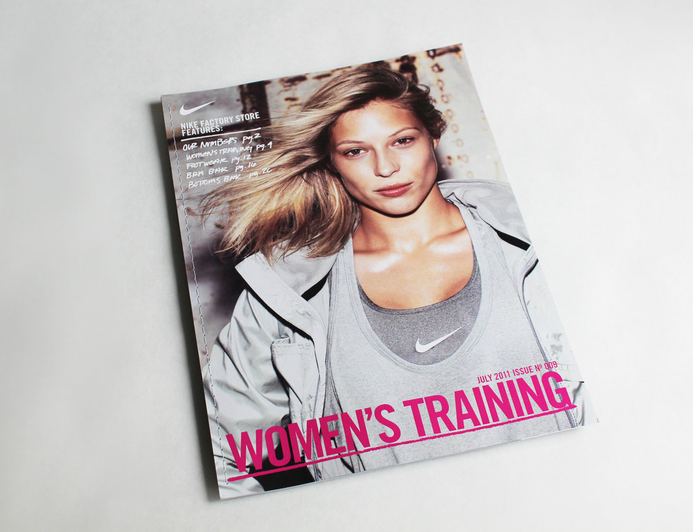 Women's Training lookbook designed as a promotional leave-behind for Nike's private aircraft.