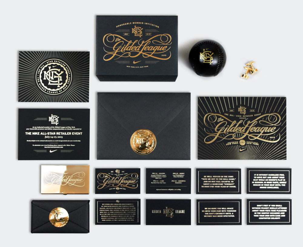 Harkening back to a time of opulence and luxury, The Gilded League campaign utilized rich black papers, gold foils and intricate custom details to instill this series of exclusive invitation packages with stunning grandeur.