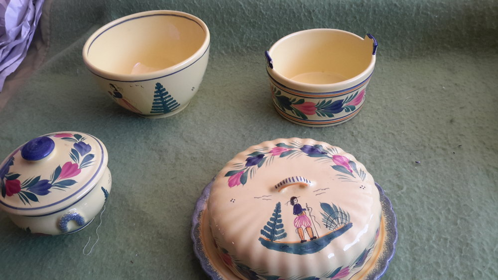 Quimper covered brie dish, bowls and covered sugar bowl.jpg
