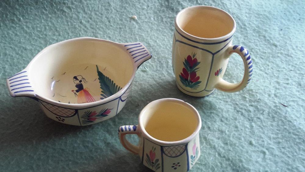 Quimper mugs, cereal bowls, demi-tasse cups.jpg