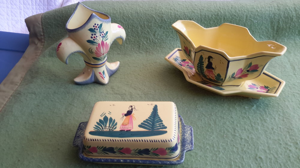Quimper open gravy boat, closed butter dish & vase.jpg