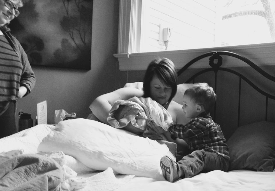 Erin, Bennett, and baby Virginia