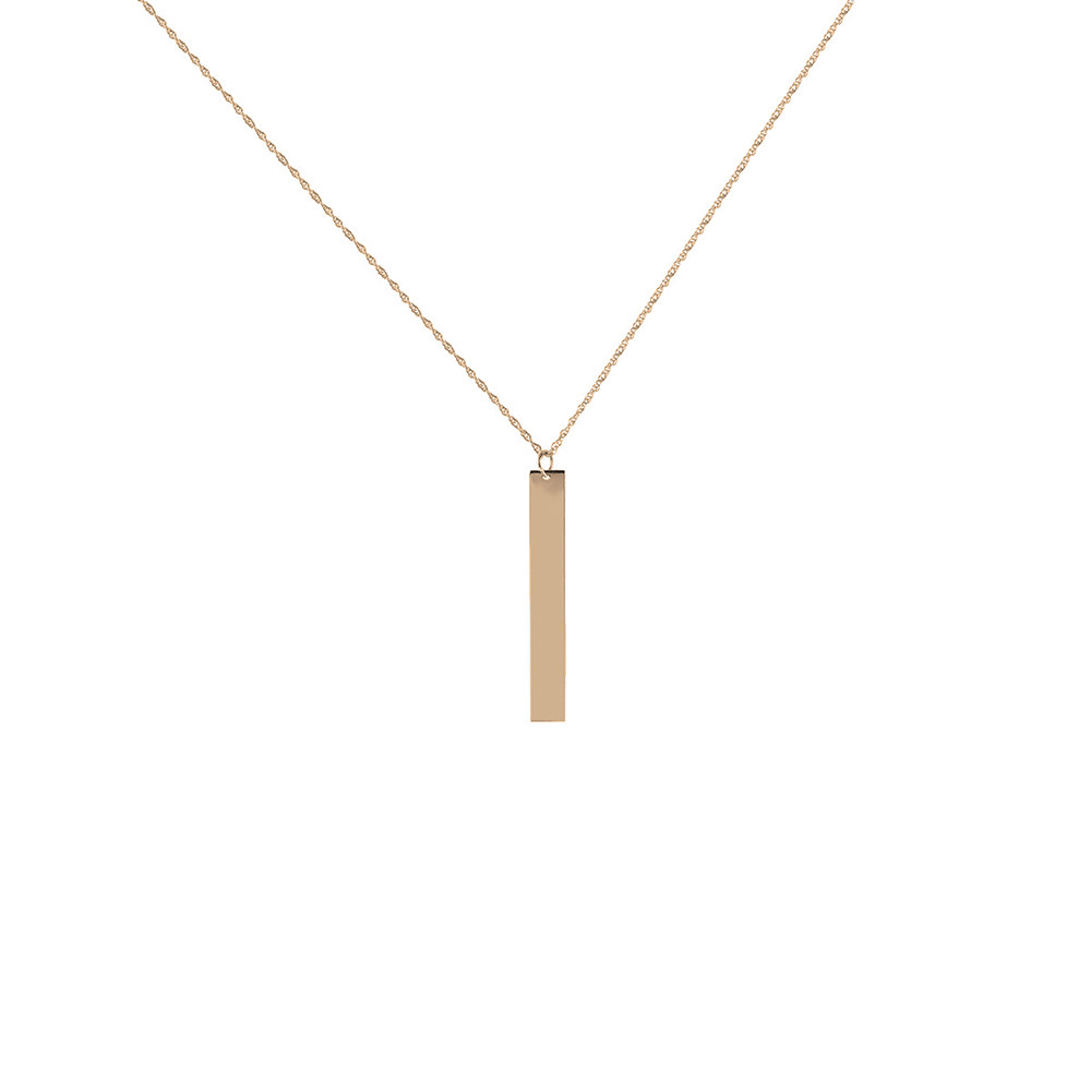 necklace vrai oro products bar gold web vertical pendant rose p