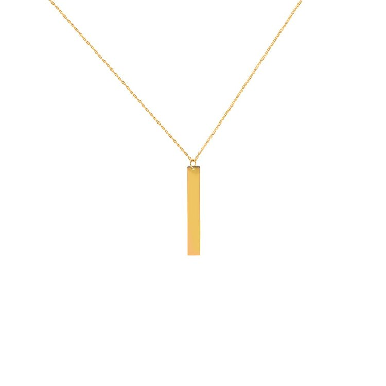 bar products necklace vertical initial name gold long
