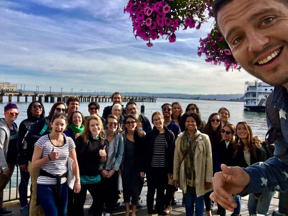 James takes a selfie of all of us at the  Embarcadero