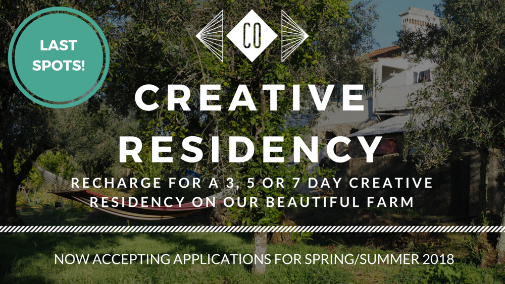 APPLY FOR A SPRING/SUMMER CREATIVE RETREAT - On our beautiful farm campus in Portugal! get activated, develop a project, take time out to restore and focus your creative for more positive change in our personally curated experiences. Now accepting applications for April through August 2018.