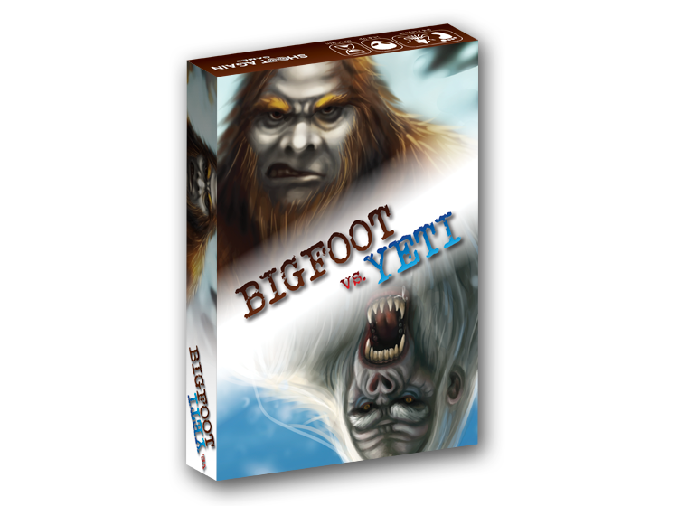 BIGFOOT vs. YETI - A battle is brewing between the undisputed king of the cryptids Bigfoot and his stone cold cousin the Yeti, who is sick of playing second fiddle. In Bigfoot vs. Yeti you are an up and coming cryptozoologist mounting expeditions in the hopes of proving the existence of unknown creatures such as Bigfoot, Yeti, The Loch Ness Monster, the Jersey Devil or Extraterrestrials. Your ultimate goal is to gain fame and fortune by being the first cryptozoologist credited with the actual discovery of a new species, making you world famous.Bigfoot vs. Yeti is a rummy style game with lots of twists and turns for two to four players!Learn More about Bigfoot vs. Yeti