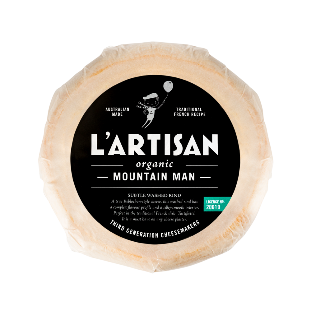 — MOUNTAIN MAN —   A subtle Washed Rind. This complex yet smooth cheese has been made in true Reblochon style, with a gently washed rind. A must-have on any cheese platter.  500g