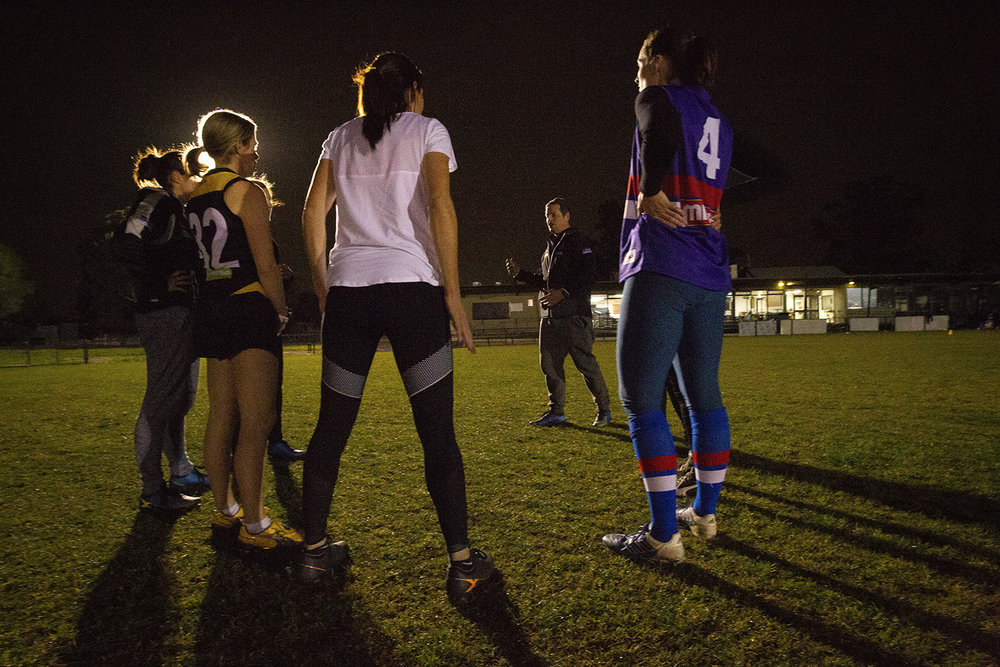 A winter's night training session at Meade Reserve, Oakleigh, where the Waverley Warriors train. Ashley wears the number 32 jumper.