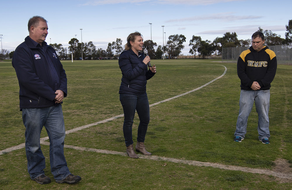 Jill Chalmers welcomes players, officials, and spectators to the first game of the inaugural AFL Women's Masters competition played at Werribee. Waverley Warriors went on to score their first win.