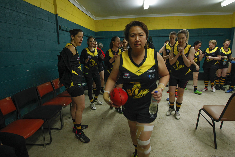 Heading out for the first game of the inaugural Women's Masters AFL season.