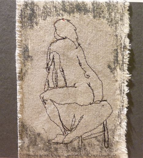 "Watching, 2017   Machine free-motion stitching from the figure; cotton canvas; paint; 4""x7"" ."