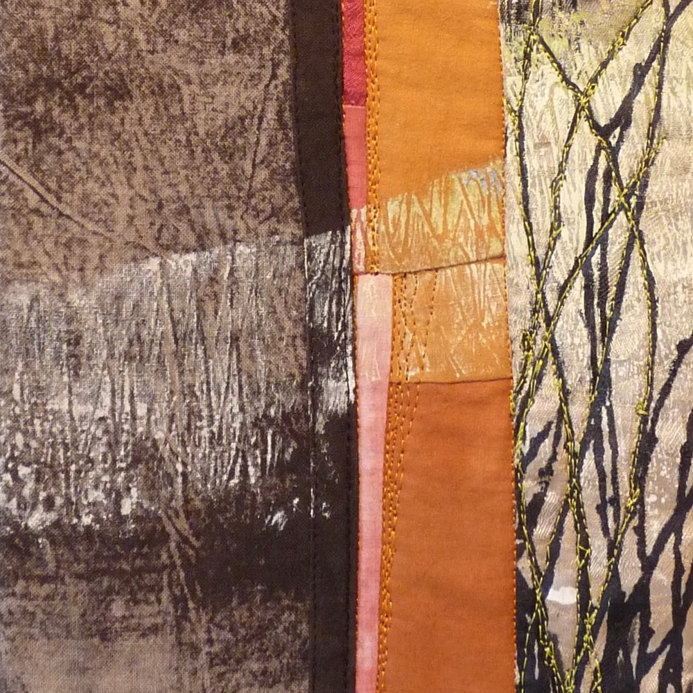 "Detail,  Currant , 2015  Cotton, silk; monotypes; thermofax prints; machine pieced & quilted; 7""x16""."