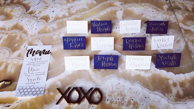 Beautifully hand made place cards and menus by @goldenstrokelettering  #stationary #handmade #weddings #styledshoot #foreverbride #events #eventplanner #party