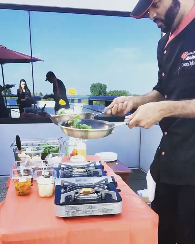 """Meet Chris! Tried him out for a you-call-it omelette bar for a corporate event and couldn't be happier with the results.  He was friendly with all the guests and accommodated all the requests asked of him. """"⭐️⭐️⭐️⭐️⭐️"""" @commischefchris"""