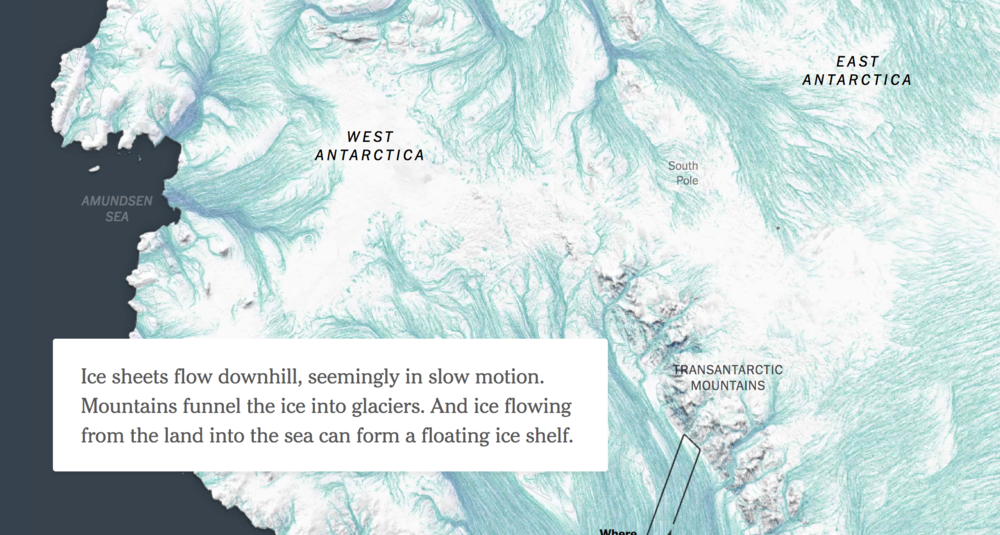 "Use of maps within the New York Time's article, ""Miles of Ice Collapsing Into the Sea"""