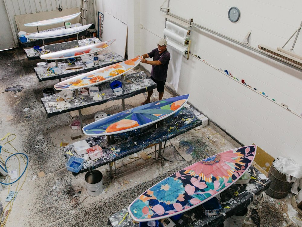 Rod Rose in his workshop glassing our Lulu DK Surfboards.