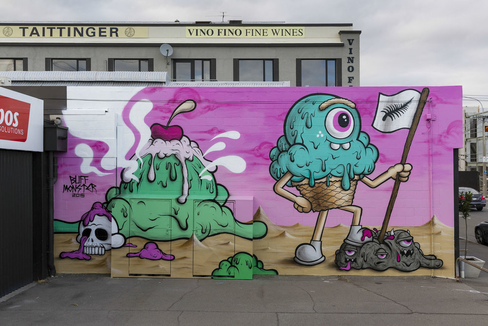 Buff Monster mural, Spectrum 2015 Christchurch – credit Luke Shirlaw