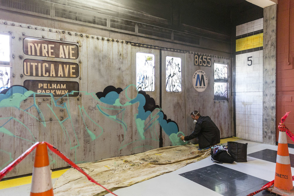 Sofles putting finishing touches on Subway train 2, Spectrum 2015 Christchurch – credit Luke Shirlaw