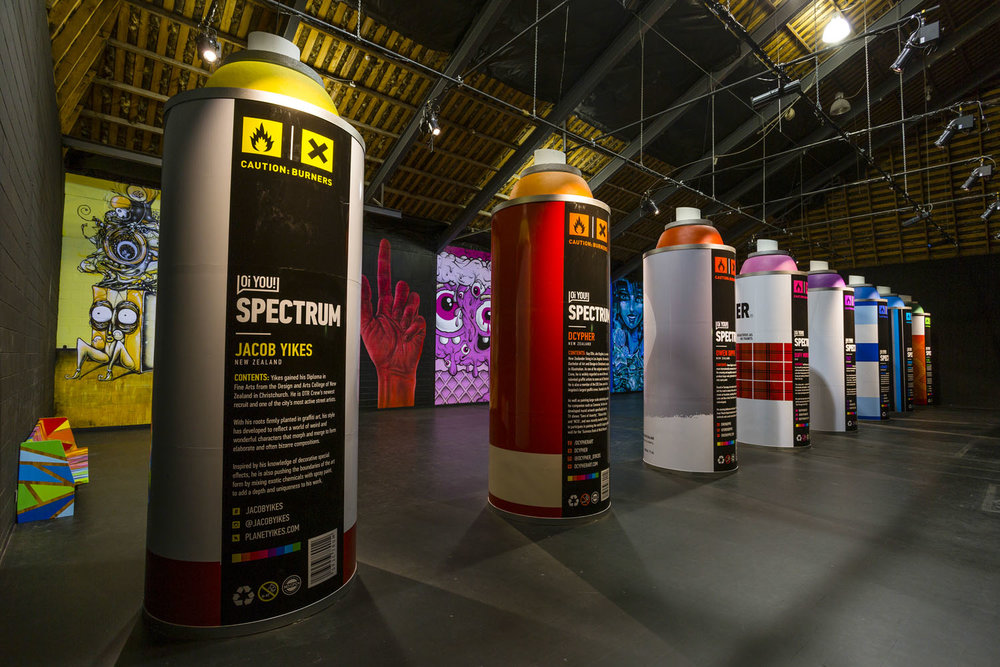 Giant spray cans completed, Spectrum 2015 Christchurch – credit Luke Shirlaw