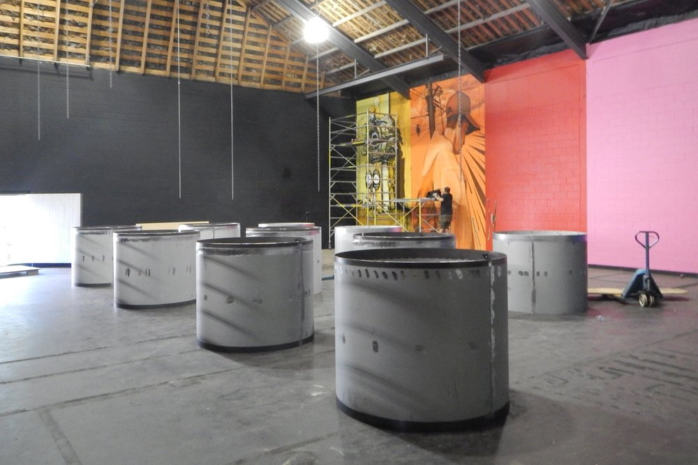 Giant spray cans in pieces ready for construction, Spectrum 2015 Christchurch