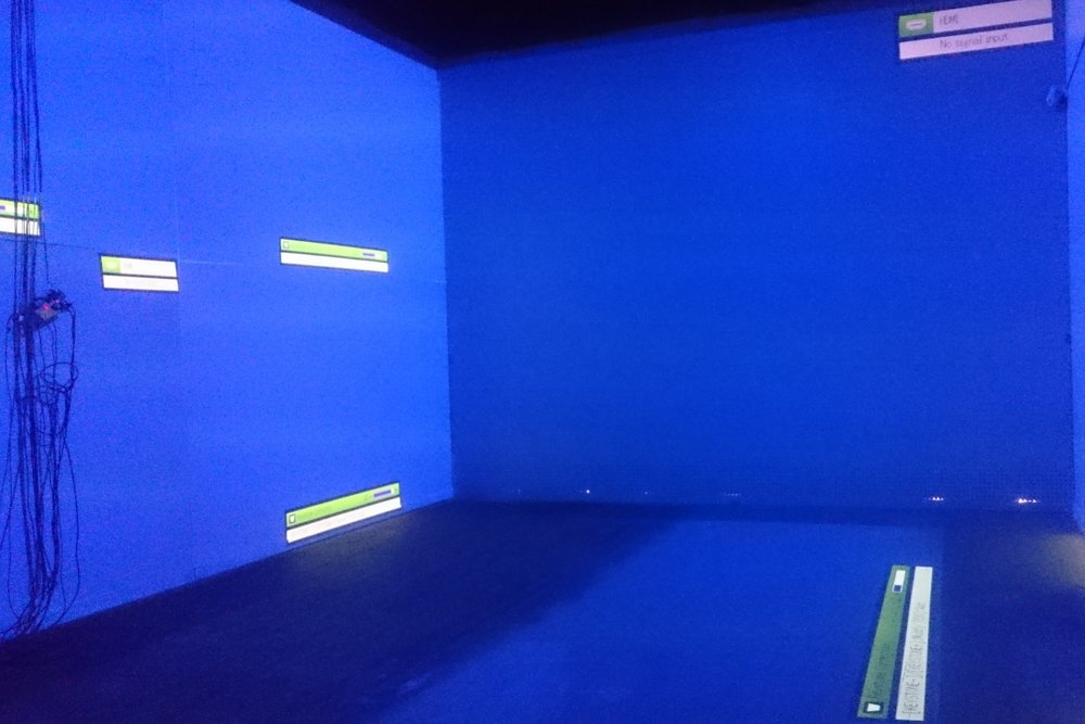 Testing projectors for Selina Miles video installation room, Spectrum 2016 Christchurch – credit Luke Shirlaw