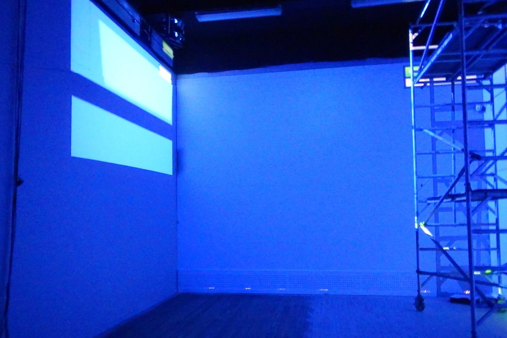 Testing projectors ready for Selina Miles video installation room 2, Spectrum 2016 Christchurch – credit Luke Shirlaw
