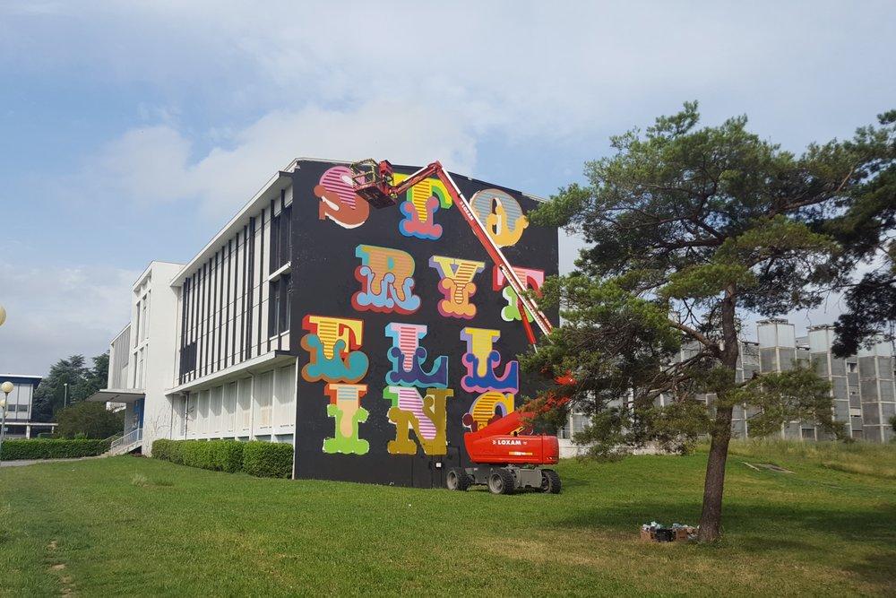Ben Eine mural, Rose Beton 2016 Toulouse