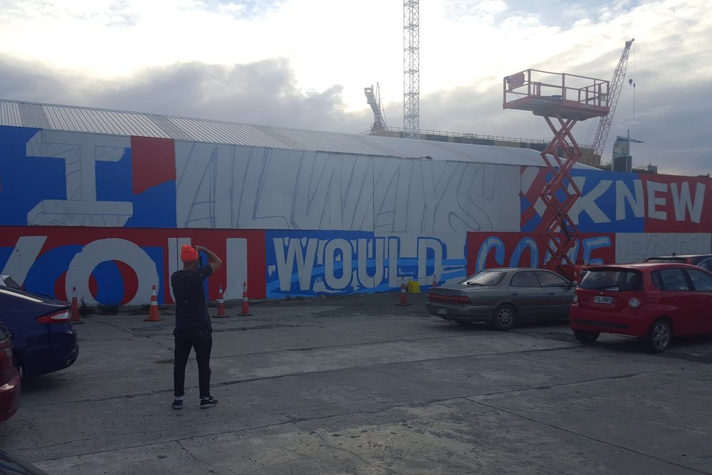 Mural taking shape, Word Up 2016 Christchurch