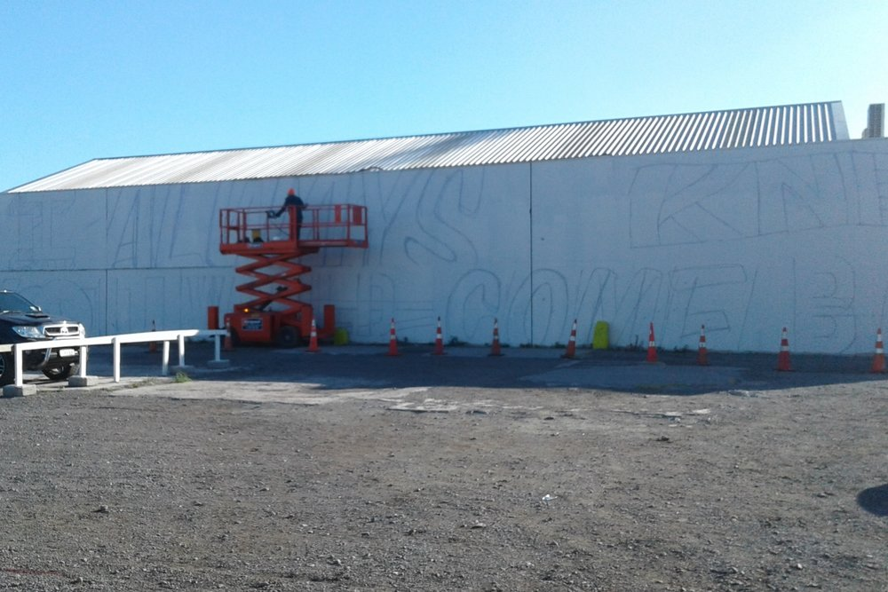Outline for mural 2, Word Up 2016 Christchurch