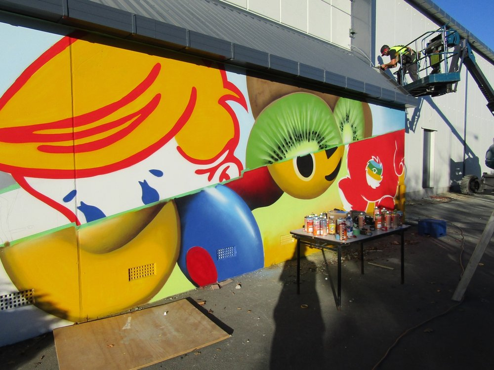 The wall taking shape 3, Dcypher Mural 2016 Christchurch