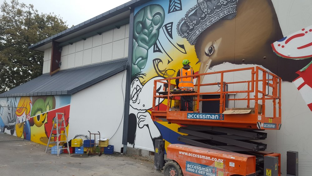 The wall taking shape, Dcypher Mural 2016 Christchurch
