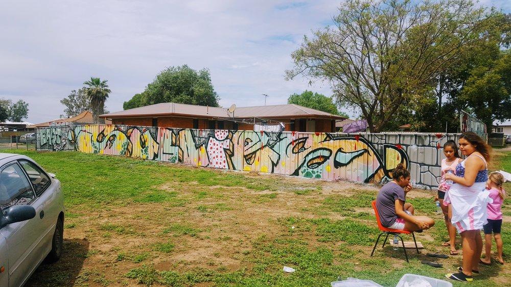 John Kaye and Emmanuel Moore graffiti art Moree