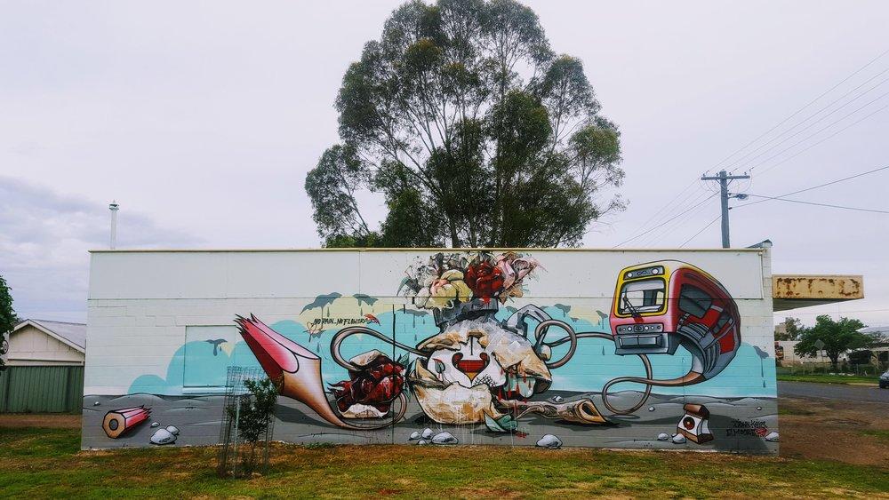 John Kaye and Emmanuel Moore graffiti art mural