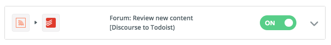New task from forum posts - We use Discourse for our Developer Hub forum. I find it helpful to be notified when people add new posts or comments, and so this automation is a real help. Whenever someone posts a task is created for me to follow up on.